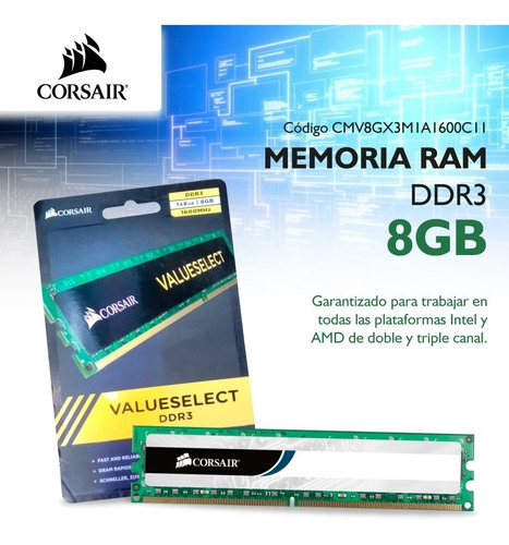 memoria ram pc 8gb corsair ddr3 1600 mhz value pce
