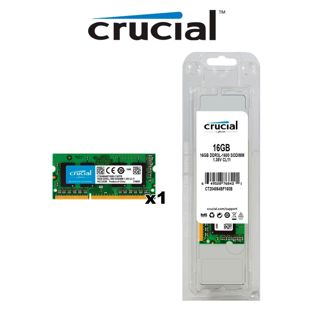 Memoria Ram Sodimm Crucial 16gb 1x16gb Ddr3l 1600 S 1 130 00 En