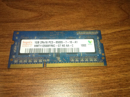 memoria ram sodimm hynix 1gb ddr3 1066mhz notebook o mac