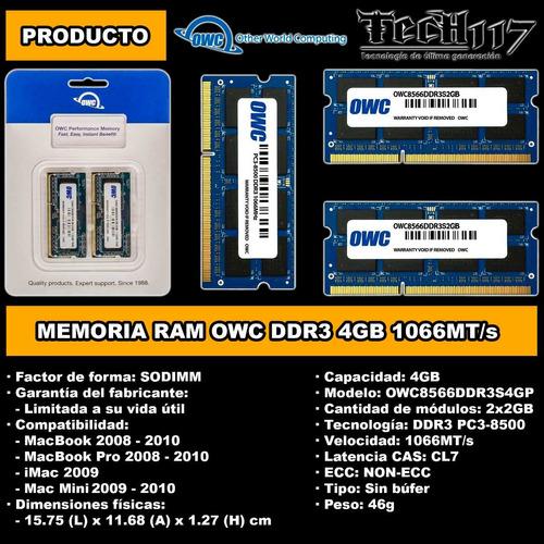 memoria ram sodimm owc ddr3 4gb 2x2gb 1066 para mac