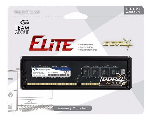 memoria ram team group ddr4 8gb 2133 y 2666 dimm blister new