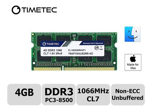 memoria ram - timetec - sodim - ddr3 4 gb 1066mhz para mac