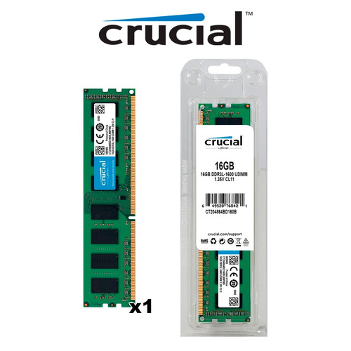 memoria ram udimm crucial 16gb 1x16gb ddr3l-1600