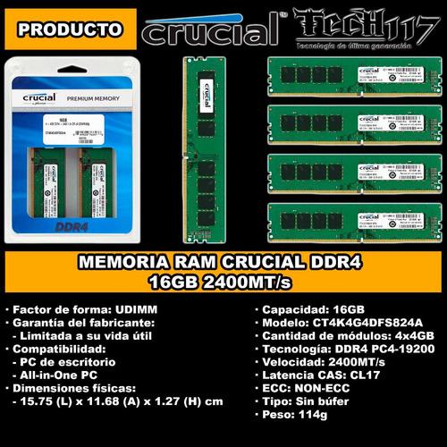 memoria ram udimm crucial ddr4 16gb 4x4gb 2400