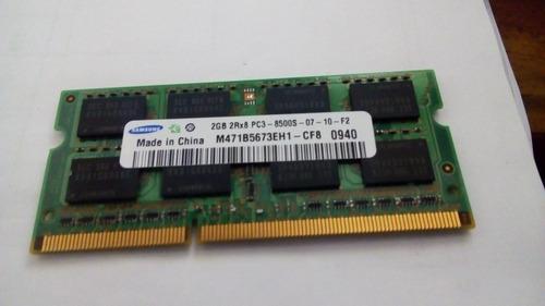 memoria samsung ddr3 2 gb 2rx8 pc3 - 8500s - 07 -10 - f2