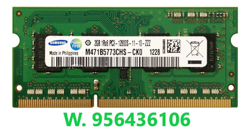 memoria samsung laptop ddr3 2gb 1600mhz cl11. remate