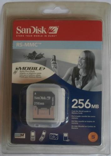 memoria sandisk 256 mb rs-mmc nuevo en su blister