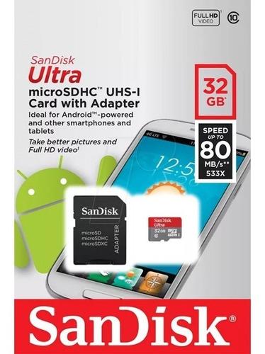 memoria sandisk micro sd 32 gb c 10 uhs-1 80 mb/seg factura