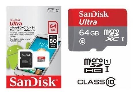 memoria sandisk micro sd 64gb 80 mbs c10 garantia 1 año orig