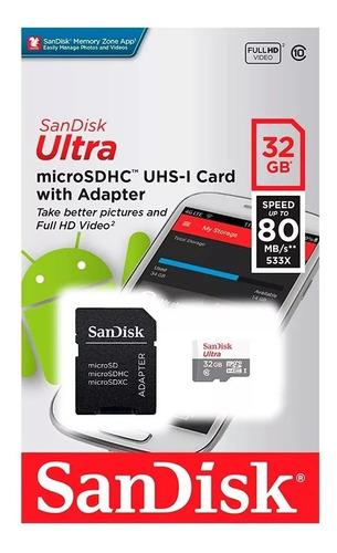 memoria sandisk micro sd clase 10 32gb 80mb/s tienda oficial