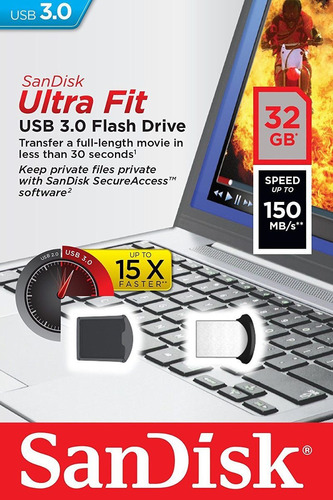 memoria sandisk mini, 32 gb, usb 3.0, 150 gb transferencia