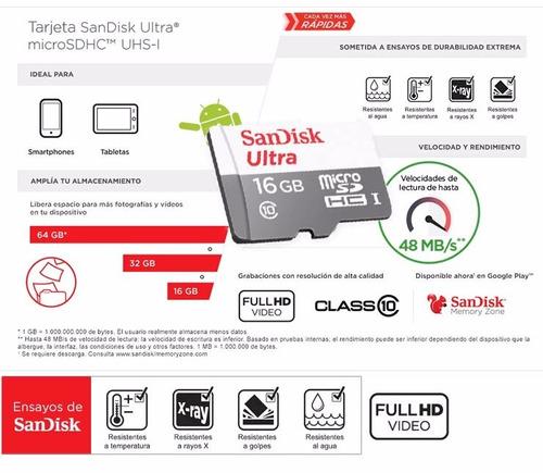 memoria sandisk ultra 32gb clase 10 - alta velocidad 48mb/s