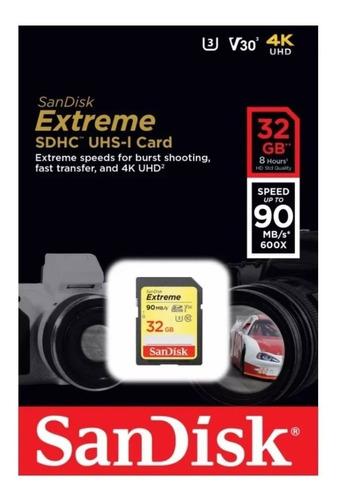 memoria sd 32gb sandisk extreme sdhc u3 para dslr y video 4k