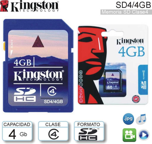 memoria sd 4gb kingston technology class 4 blister original