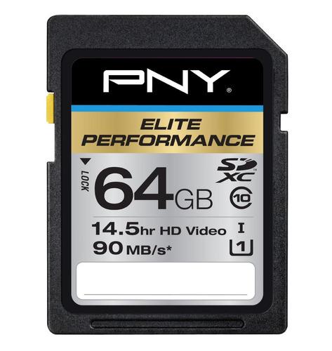 memoria sd pny 64gb sdxc elite performance uhs-1 90mb/sec
