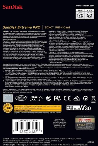 memoria sd sandisk extreme pro 256gb 170mb/s u3 c10 4k dslr