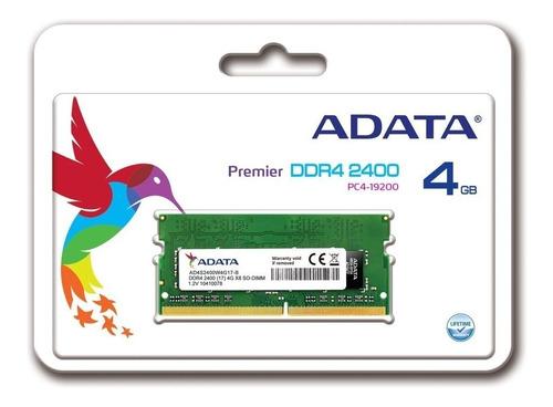 memoria sodimm adata 4gb ddr4 2400 mhz para notebook