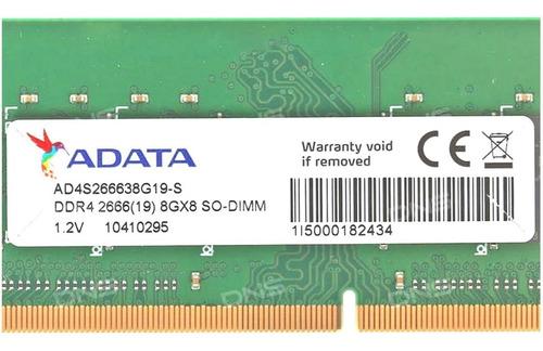 memoria sodimm adata 8gb ddr4 2666mhz para notebook cuotas