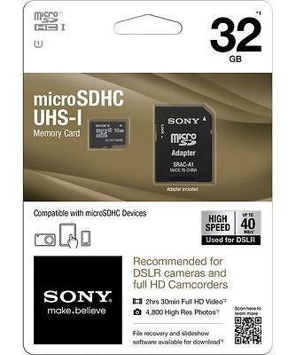 memoria sony micro sd hc 32 gb clase 10 ultra rápida cámaras