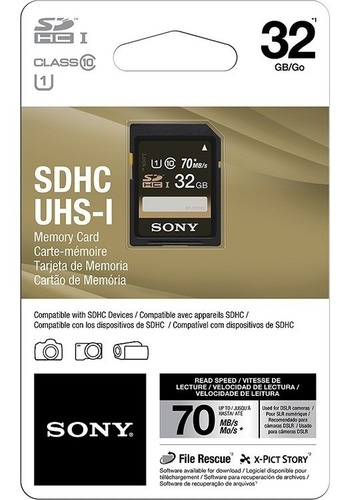 memoria sony sd 32 gb clase 10 ultra 70mbs super rapida