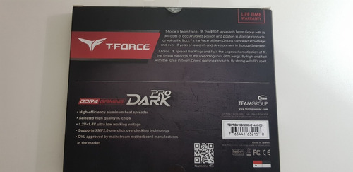 memoria team group t-force dark pro 16gb (2x8) 3200mhz ddr4