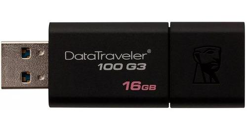memoria usb 16gb kingston dt100 g3 3.0 datatraveler negra