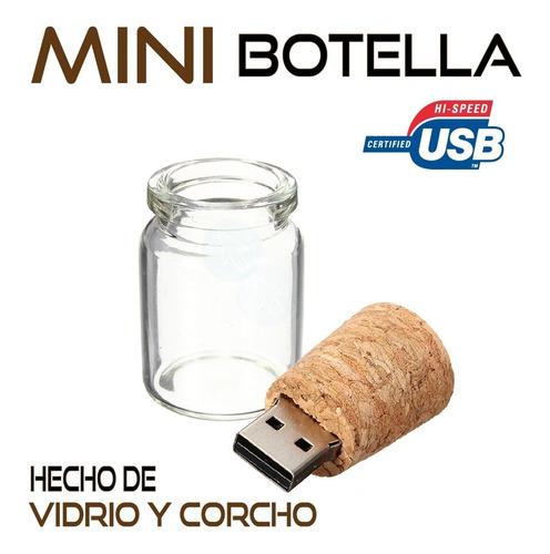 memoria usb 16gb mini botella vidrio corcho original modelo!