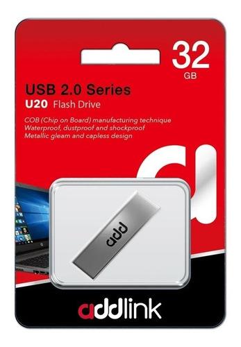 memoria usb addlink u20 plateada 32 gb 2.0