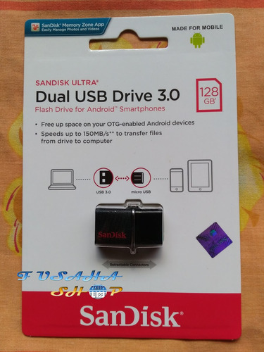 memoria usb dual otg 128 gb sandisk 3.0 150 mb velocidad