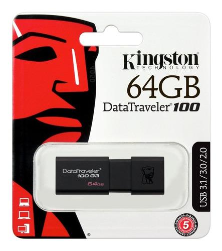 memoria usb kingston dt100/g3 64gb 3.0 original retractil