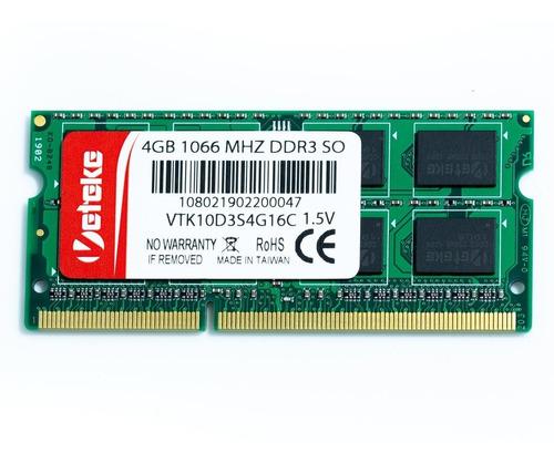memória veteke 4gb ddr3 1066mhz notebook 16chips mac dell