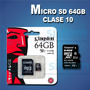Memoria Micro Sd 64gb Clase 10 Kingston Por Mayor Y Menor