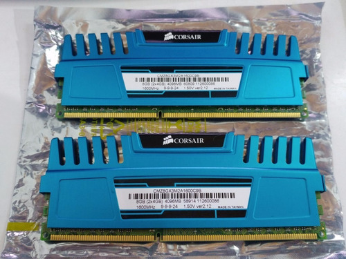 memorias corsair vengeance blue 2x4gb ddr3 1600mhz pc3-12800