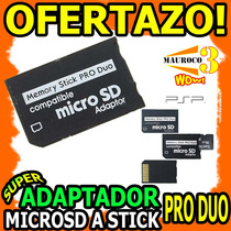 Wow Adaptador Microsd A Stick Pro Duo Ms Camara Psp Sony