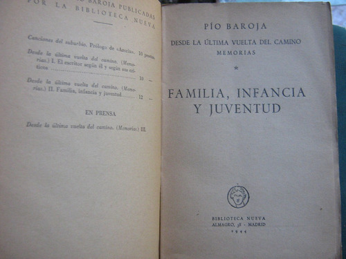 memorias familia infancia juventud pio baroja 1944 primera e