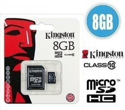 memorias micro sd hc marca kingston 8gb clase 10 + adaptador
