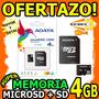 Wow Memoria Microsd 4gb Adata + Sd Sellada En Blister Unicas