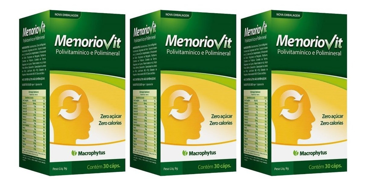 Memoriovit Polivitaminico 30 Cáps Macrophytus Kit 3 Unidades