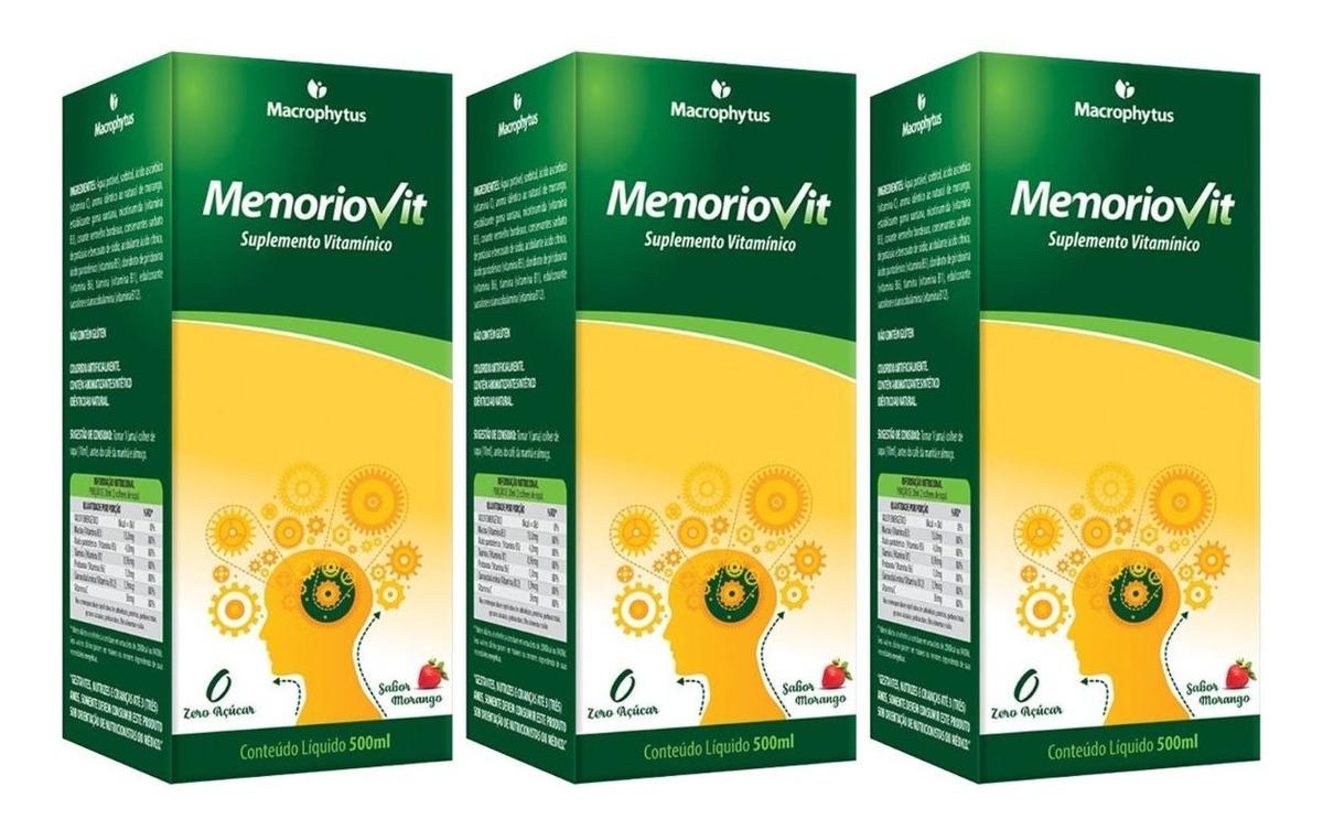 Memoriovit Polivitaminico 500ml Macrophytus Kit 3 Unidades