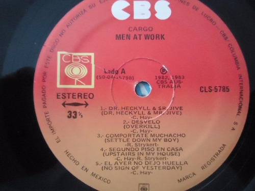 men at work / cargo vinyl lpacetato