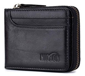 5a0372550e47 Men Genuine Leather Wallet Zipper Rfid Blocking Bifold Wal