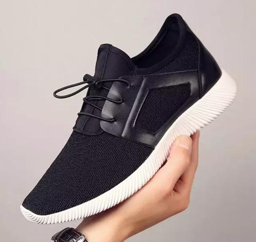 men knitting mesh breathable flat heel shoes sport running c