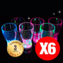 6 Vasos Led Luminosos Reutilizables, Cotillon Fluor,