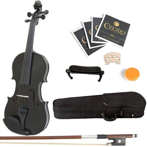 mendini 1/2 mv-negro de madera maciza violín negro + funda