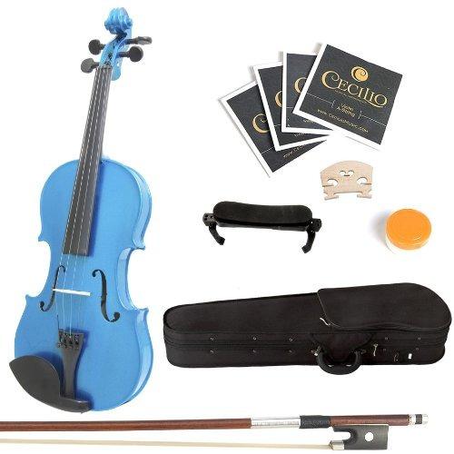 mendini 4.4 mv-blue violín de madera maciza azul + funda rí