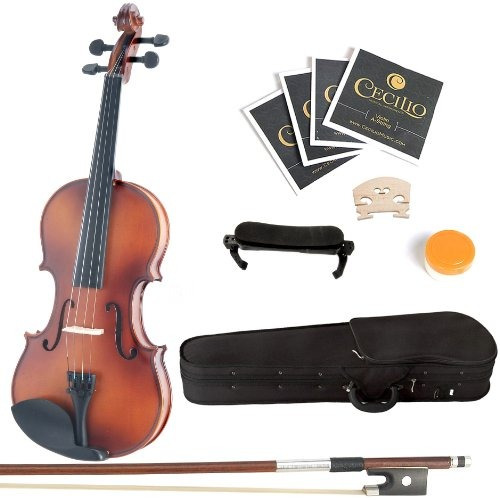 mendini mv300 satin antique solid wood violin + extra set