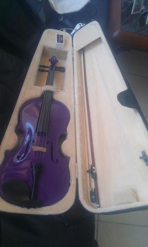 mendini viola de madera maciza con funda medida 4/4