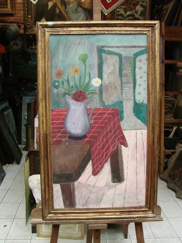 menghi / interior  flores / oleo enmarcado / 90 x 50 # 1674