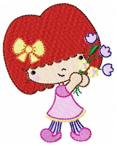 menina com flor - coleção de matriz de bordado