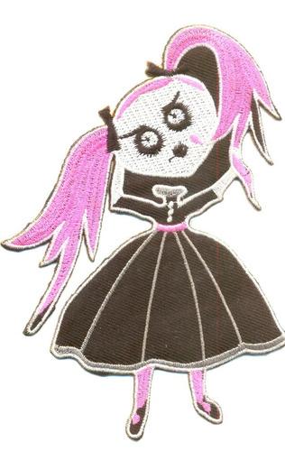 menina gótica patch insignia bordado e termocolante